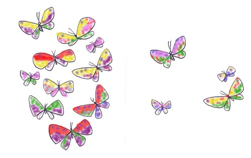 many and few butterflies color